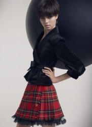 Dorothy Perkins red tartan kilt and black jacket